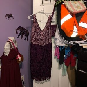Purple Lace Gown Dress